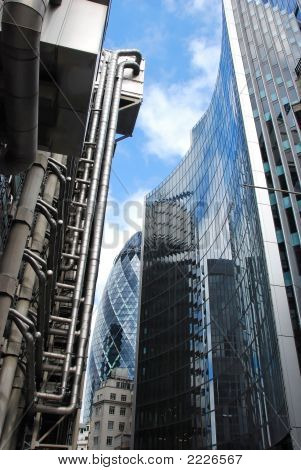 City Of London Buildings Including Lloyds Building And Gherkin