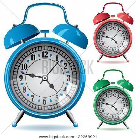 Set Of Colorful Retro Alarm Clocks