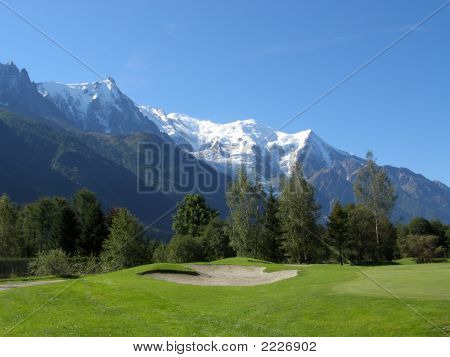 Chamonix Golf-Course In Front Of Mont Blanc