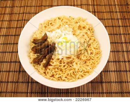Ramen Noodles With Poached Egg And Chinese Pickles