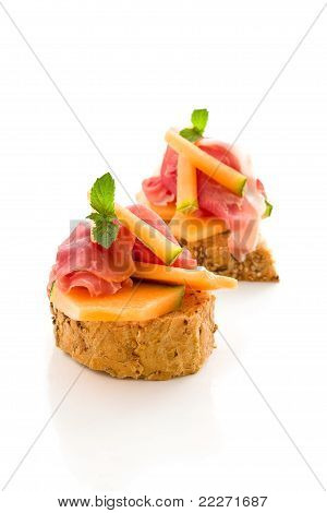 Ham And Melon Appetizer Isolated