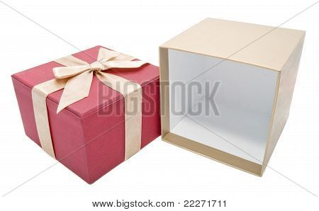 Empty Opened Gift Box With A Gold Color Ribbon