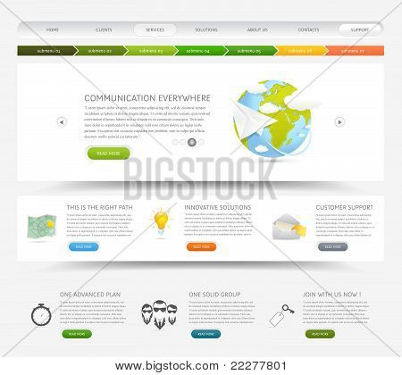 Web design template with icons