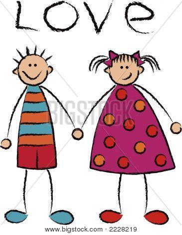 niño y niña enamorada (vector)