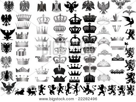 illustration with large set of crowns and heraldic animals