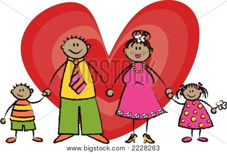 Happy Family in tan skin tone (vector)
