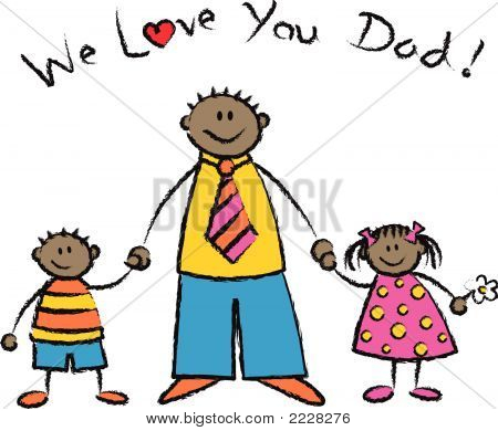 WE LOVE YOU DAD dark skin tone family greeting (vector)