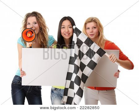 Women fans with a blank, finish flag and loudspeaker, isolated on white