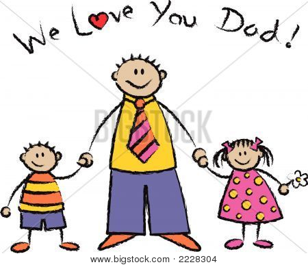 """We Love You Dad"" light skin tone family (vector)"