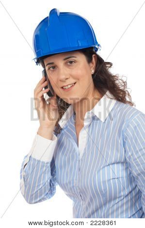Female Architect With Phone