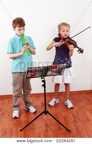 Kids Playing Flute And Violin