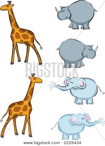 Elephant, Rhino, Giraffe Cartoon (Vector)
