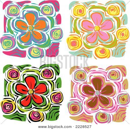 4 Tropical Daisies (Vector)