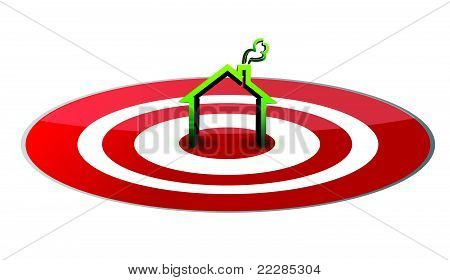 illustration of a green house in the center of a glossy red target.