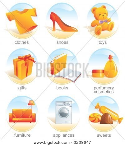 Icon Set - Shopping Related Items. Aqua
