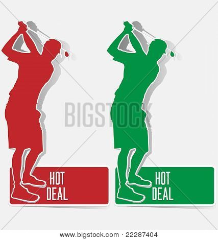 Golf Hot Deal Label Sticker Vector