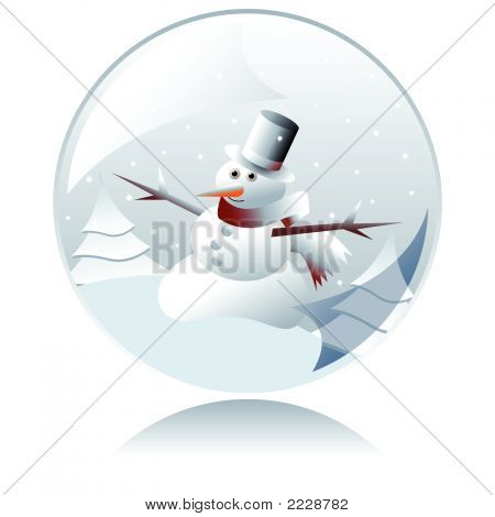 Christmas Snowman Crystal Ball