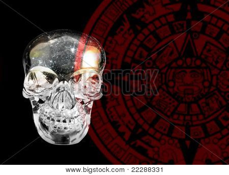Crystal Skull And Mayan Calander
