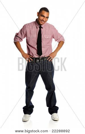 Portrait of African American man with arms akimbo isolated over white background