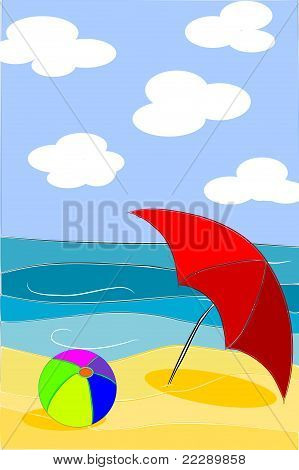 Beach Beauty Colorful Illustration - Vector