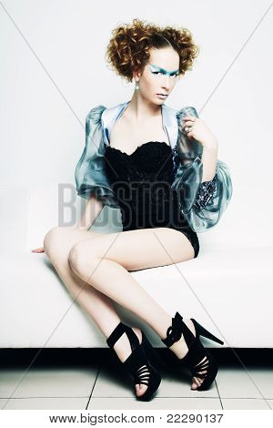 Fashion Photo Of A Young Beautiful Redhead Woman
