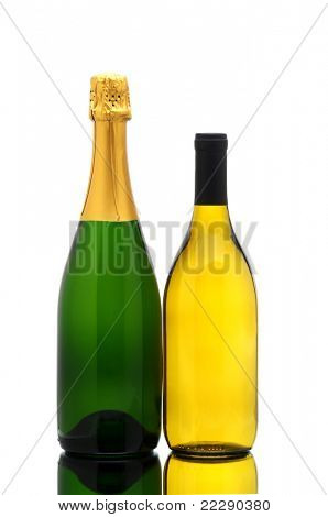 Chardonnay wine and champagne bottles on a white background with reflection. Bottles have no labels.
