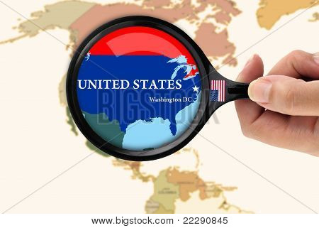 Magnifying Glass Over A Map Of United States