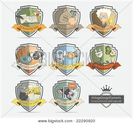 Vintage labels with icons set