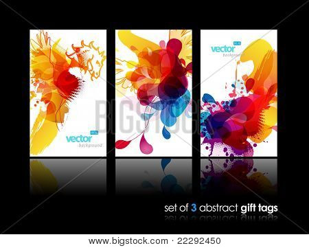Set of abstract colorful splash gift cards with reflection.