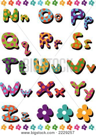 Polka Dots Fun Alphabets N To Z (Vector)
