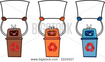 3 Recycle Bins Holding Blank Signs For Your Own Message (Vector)