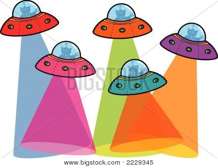 5 Ufos With Spotlight (Vector)