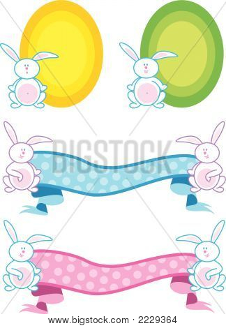 Baby Bunnies Banner And Frame (Vector)