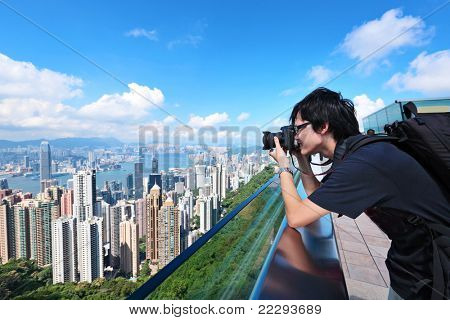 Tourist visit Hong Kong and take photo