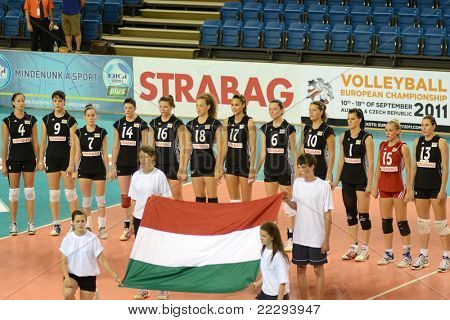 DEBRECEN, HUNGARY - JULY 9: Hungarian National Team before a CEV European League woman's volleyball game Hungary (black) vs Israel (white) on July 9, 2011 in Debrecen, Hungary.