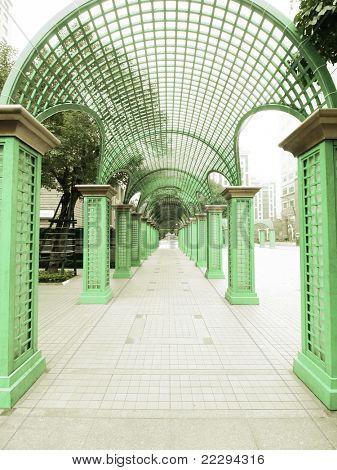 Long walkway in park