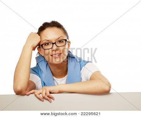 A woman with a blank, isolated on white background