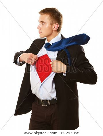 A business superman, isolated on white