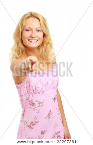 A smiling woman pointing on you, isolated on white
