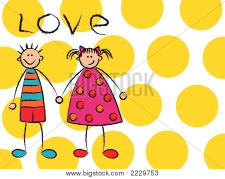 Boy + Girl = Love On Yellow (Vector) - Cartoon Illustration
