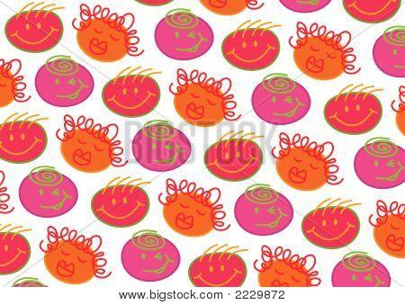 Pink Orange Bubblegum Heads On White (Vector)