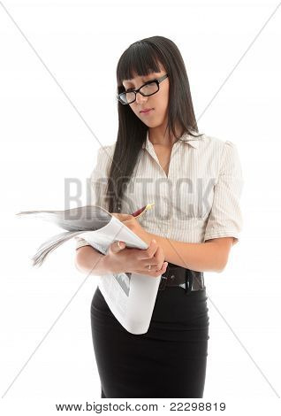 Business Woman Reading Financial News