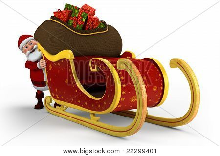 Santa Pushing His Sleigh