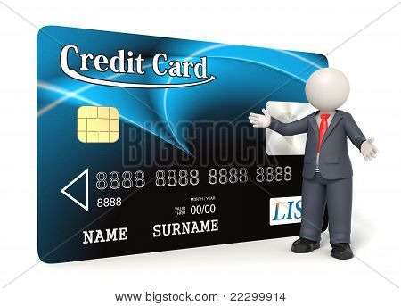Blue Credit Card - 3D Business Man