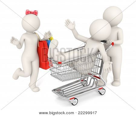 Happy 3D People Shopping - Isolated