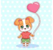 Sweet Little Cute Kawaii Anime Cartoon Puppy Dog Boy And Girl With Pink Balloon In The Shape Of A He poster