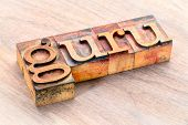 guru word abstract- text in vintage  letterpress wood type printing blocks stained by color inks poster