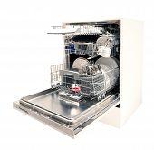 stock photo of dishwasher  - Modern dishwasher open - JPG