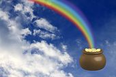 image of end rainbow  - Pot with gold at the basis of a rainbow - JPG