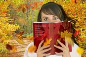 picture of girl reading book  - Woman reading a book  - JPG